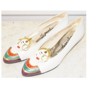 Shoes - Margaret J. White Leather Gypsy Gold Ring Flats 7